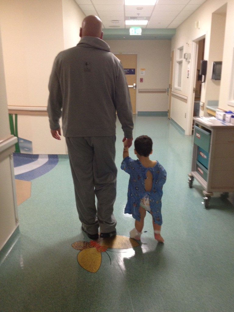 Damon's first walk in the hospital