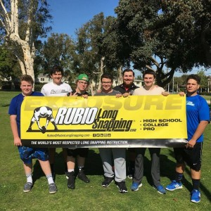 (Back): Rubio Long Snapping Instructor, Jason Bertoni, leads a Sunday session in CA.